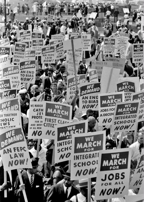 Civil Rights Greeting Card featuring the photograph March On Washington by Benjamin Yeager
