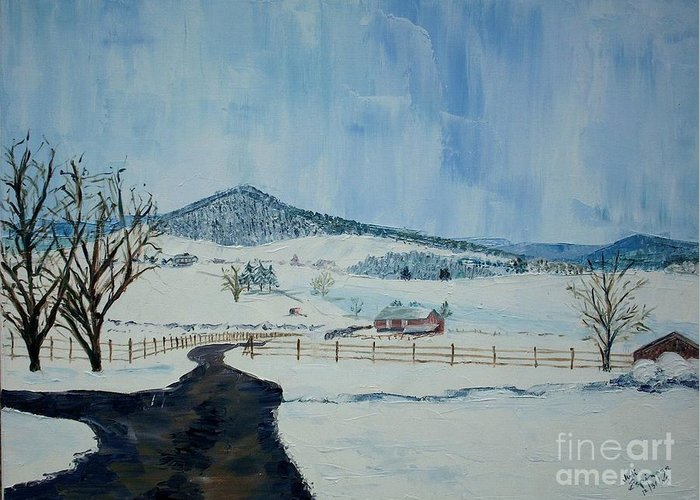 Mole Hill; Snow; Dark Driveway In Foreground Greeting Card featuring the painting March Snow On Mole Hill - Sold by Judith Espinoza