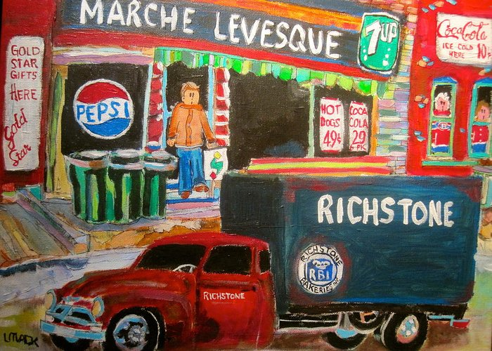Richstone Bakery Delivery Truck Greeting Card featuring the painting Marche Levesque by Michael Litvack