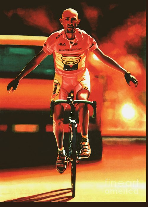 Marco Pantani Greeting Card featuring the painting Marco Pantani by Paul Meijering