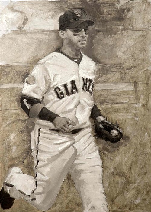 Marco Scutaro Greeting Card featuring the painting Marco Scutaro by Darren Kerr