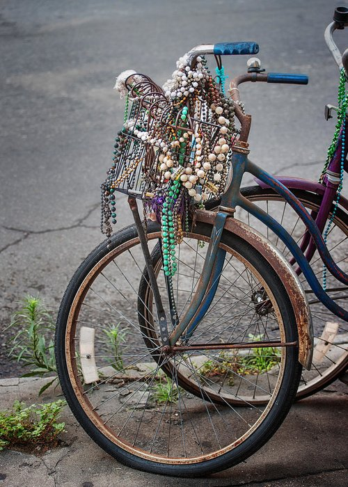 Mardi Gras Greeting Card featuring the photograph Mardi Gras Bicycle by Brenda Bryant