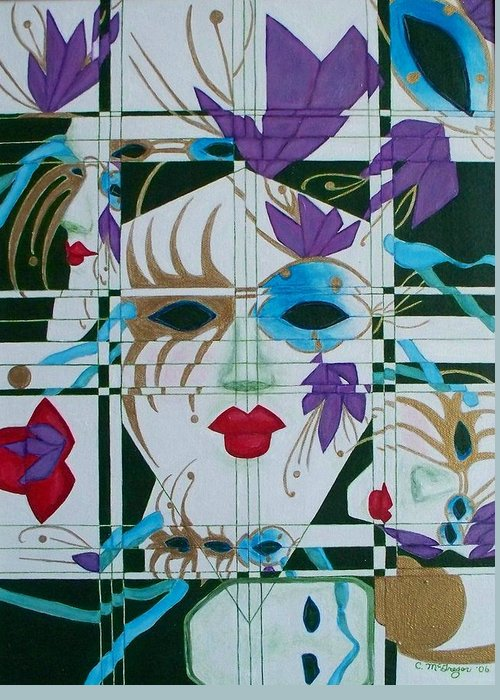 Mardi Gras Greeting Card featuring the painting Mardi Gras by Cathy McGregor