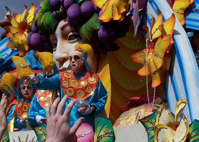 Mardi Gras Greeting Card featuring the photograph Mardi Gras Float 1 Throw Me Somthin' Mister by William Tegtmeyer