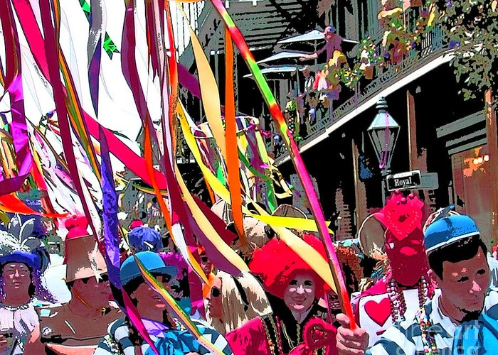 Mardi Gras Photography Greeting Card featuring the photograph Mardi Gras Marching Parade by Luana K Perez