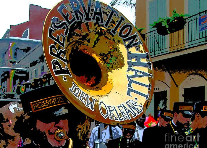 Mardi Gras Photo Greeting Card featuring the photograph Mardi Gras Preservation Hall Photo Artistic by Luana K Perez