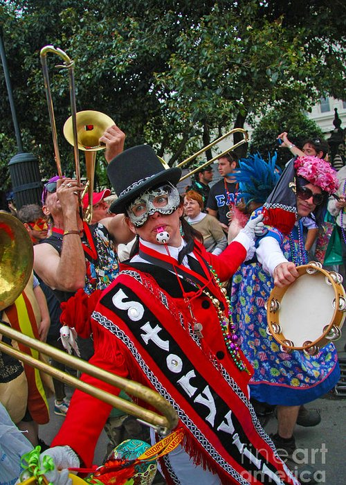 Mardi Gras Photo Greeting Card featuring the photograph Mardi Gras Storyville Marching Group by Luana K Perez
