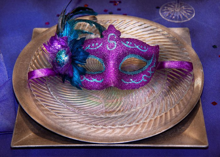 Mardi Gras Greeting Card featuring the photograph Mardi Gras Theme - Surprise Guest by Mike Savad