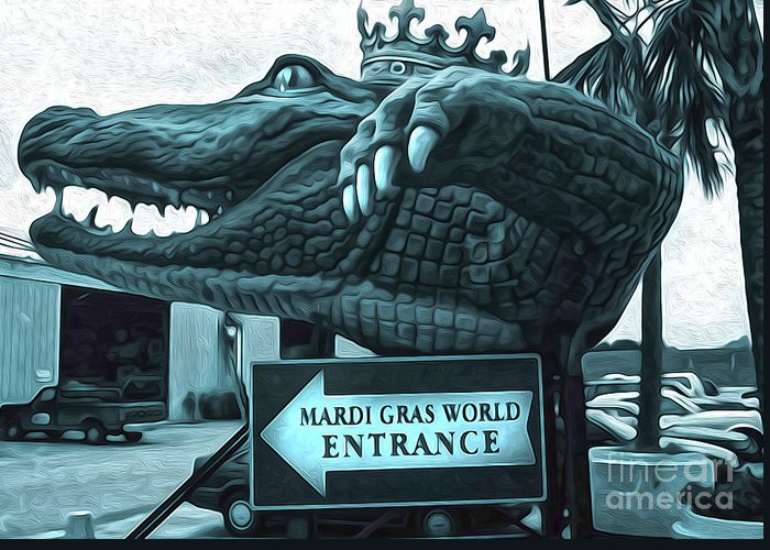 Mardi Gras World Greeting Card featuring the painting Mardi Gras World - Alligator by Gregory Dyer