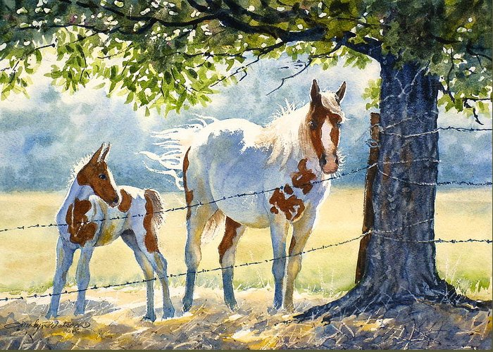 Horses Greeting Card featuring the painting Mare And Colt by Carolyn Watson