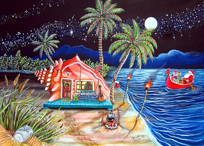 Margaritaville Greeting Card featuring the painting Margaritaville Conch Christmas by Abigail White