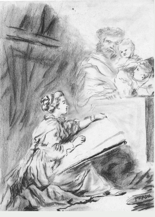 Charcoal Greeting Card featuring the drawing Marguerite Gerard Sketching by Horacio Prada