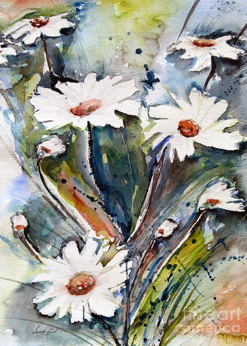 Marguerite Flowers Greeting Card featuring the painting Marguerites by Ismeta Gruenwald