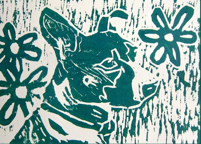 Linocut Greeting Card featuring the painting Maria by Marita McVeigh