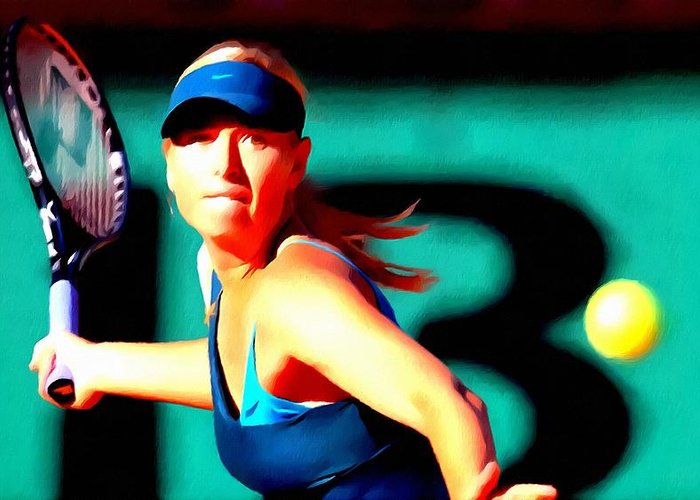 Maria Sharapova Tennis Greeting Card featuring the painting Maria Sharapova Tennis by Lanjee Chee
