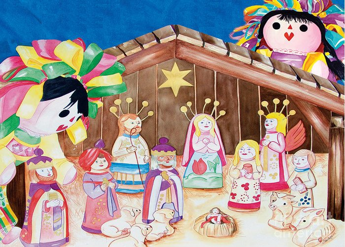 Christmas Cards Greeting Card featuring the painting Maria Sofia and The Nativity by Kandyce Waltensperger