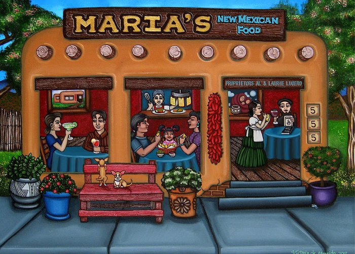 Folk Art Greeting Card featuring the painting Maria's New Mexican Restaurant by Victoria De Almeida