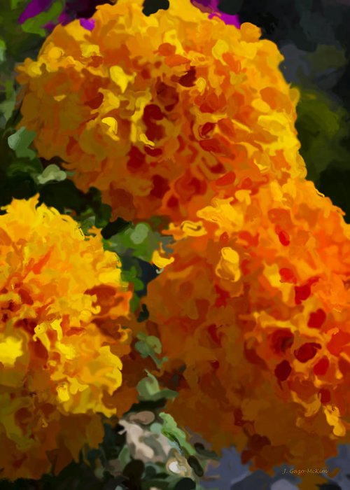 Marigold Greeting Card featuring the digital art Marigold Mops by Jo-Anne Gazo-McKim