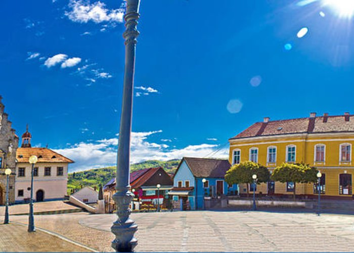 Abbey Greeting Card featuring the photograph Marija Bistrica Square Colorful Panorama by Brch Photography