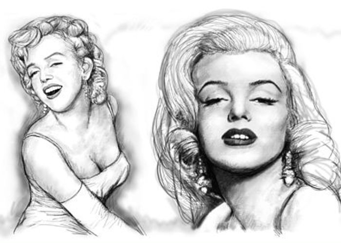 Marilyn Monroe Art Long Drawing Sketch Poster Greeting Card featuring the painting Marilyn Monroe Art Long Drawing Sketch Poster by Kim Wang