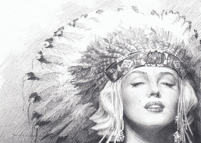 <a Href=http://miketheuer.com Target =_blank>www.miketheuer.com</a> Greeting Card featuring the drawing Marilyn Monroe In Headdress Pencil Portrait by Mike Theuer