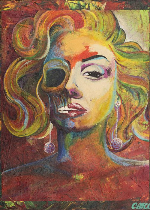Michael Caron Greeting Card featuring the painting Marilyn Monroe by Mike Caron