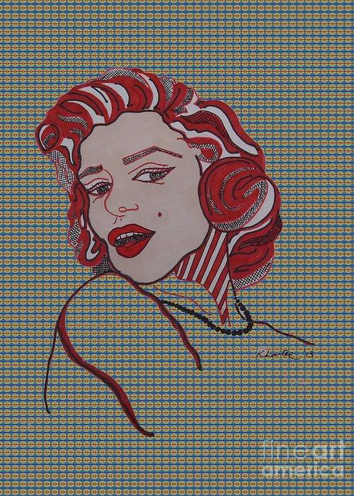 Love Greeting Card featuring the drawing Marilyn Monroe Tartan by Karen Larter