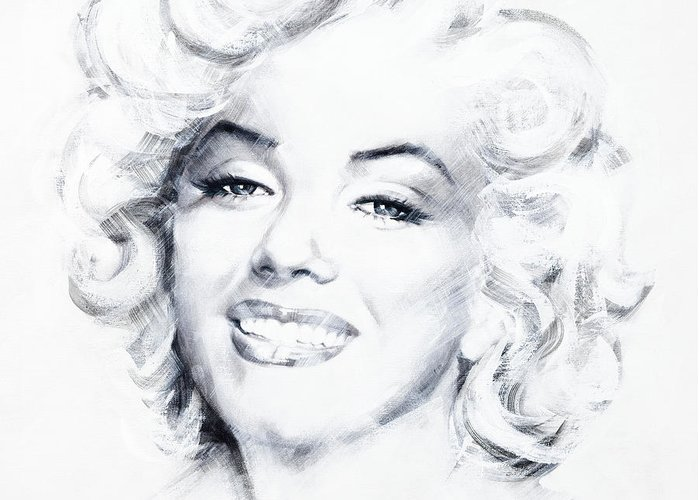Marilyn Greeting Card featuring the painting Marilyn 1 by Jean Pierre Rousselet