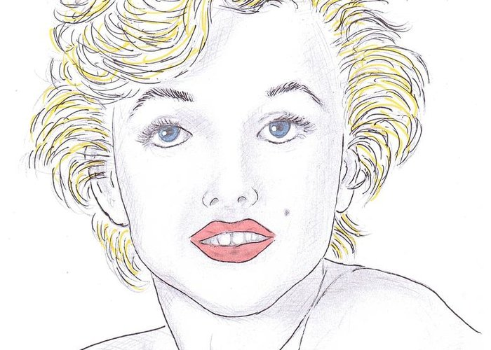Marilyn Monroe Greeting Card featuring the drawing Marilyn by Steven White