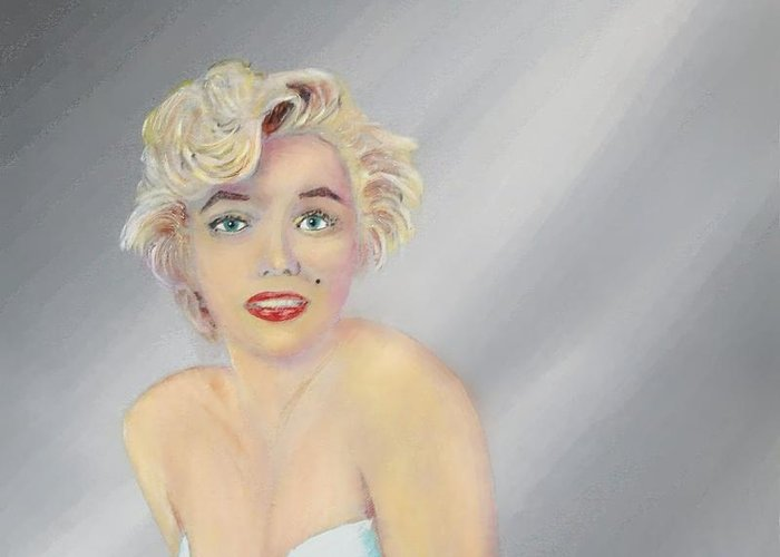 Marilyn Monroe Greeting Card featuring the painting Marilyn by Tony Rodriguez