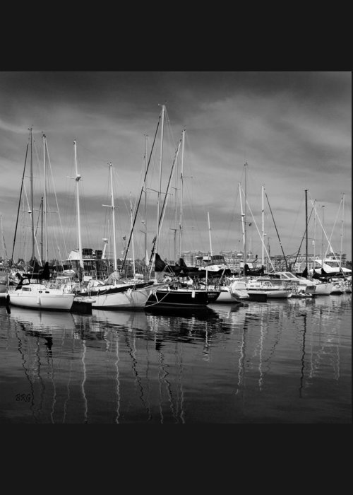 Nautical Greeting Card featuring the photograph Marina Boats In Victoria British Columbia Black And White by Ben and Raisa Gertsberg