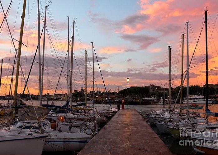 Port Greeting Card featuring the photograph Marina In Desenzano Del Garda Sunrise by Kiril Stanchev