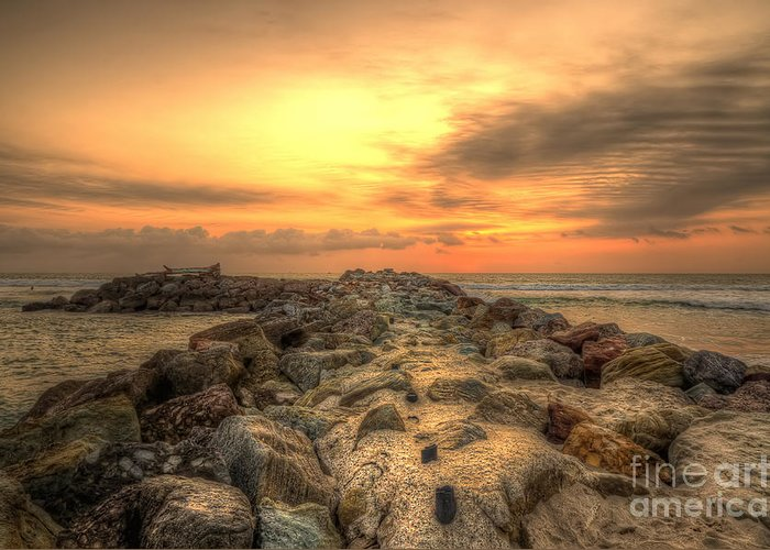 Marina Greeting Card featuring the photograph Marina Park Beach Sunset by Eddie Yerkish