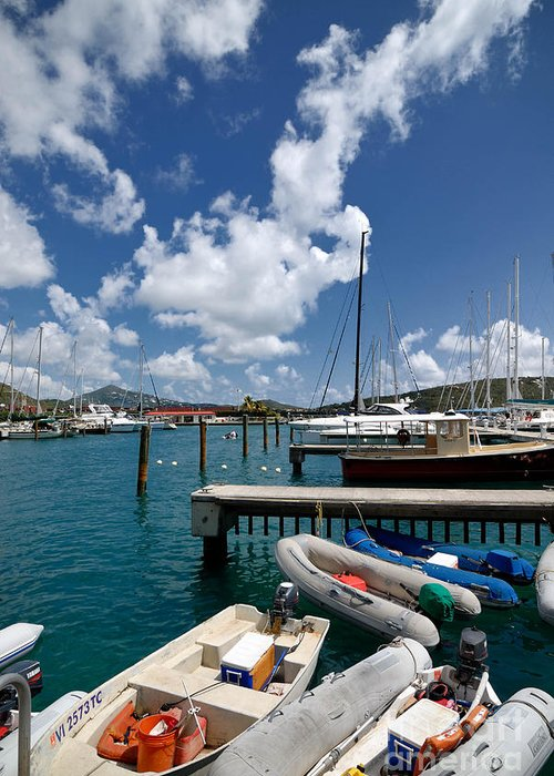 Boat Greeting Card featuring the photograph Marina St Thomas Virgin Islands by Amy Cicconi