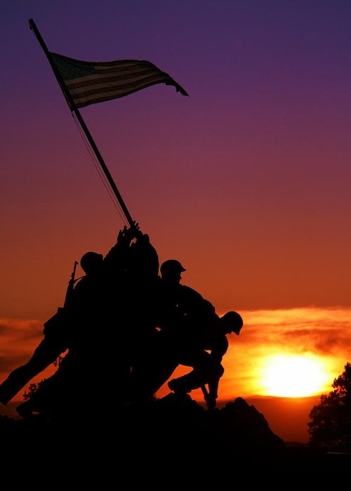 Marine Corps Memorial Greeting Card featuring the photograph Marine Corps Memorial by Mitch Cat