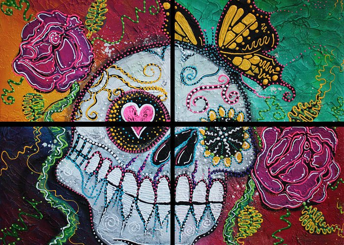 Sugar Skull Greeting Card featuring the painting Mariposa - A Spirit Returns by Laura Barbosa