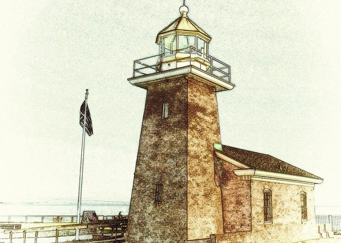 Mark Abbott Memorial Lighthouse Greeting Card featuring the drawing Mark Abbott Lighthouse Santa Cruz California by Paul Topp