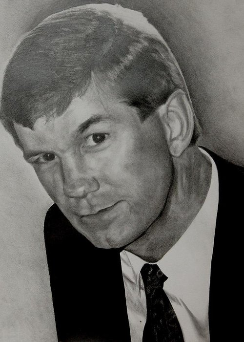 Portrait Greeting Card featuring the drawing Mark Bailey by Alyssa Kerr