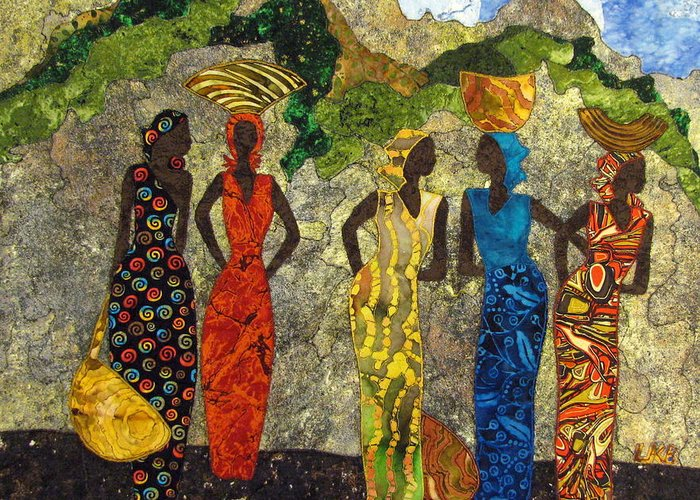 Women Tapestries - Textiles Greeting Card featuring the tapestry - textile Market Day #2 by Lynda K Boardman