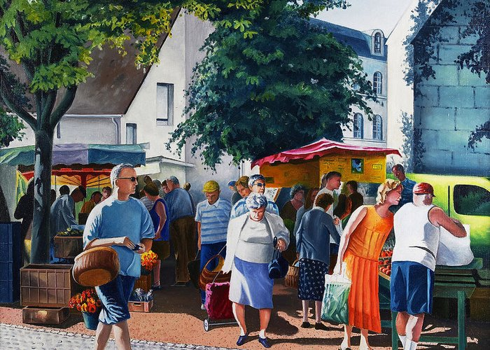 Market Greeting Card featuring the painting Market Day by Christian Simonian