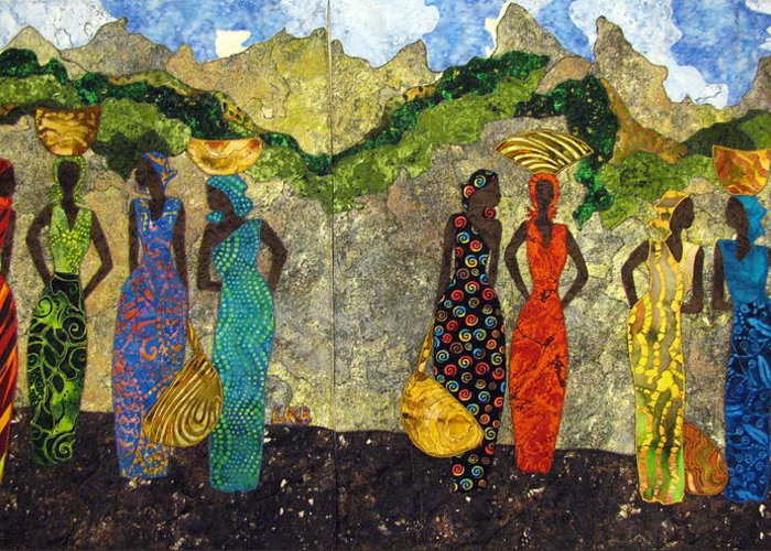 Women Tapestries - Textiles Greeting Card featuring the tapestry - textile Market Day No 1 And Market Day No 2 by Lynda K Boardman