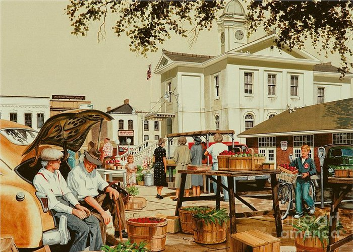 Farmer's Market Greeting Card featuring the painting Market Days by Michael Swanson
