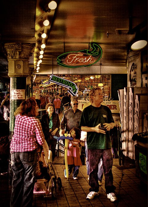 Pike Place Market Greeting Card featuring the photograph Market Fresh At Pike Place Market by David Patterson