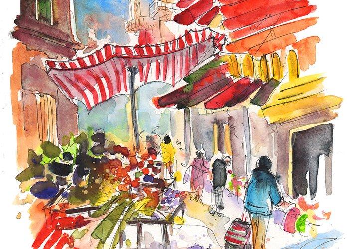 Italian Market Drawings Greeting Cards