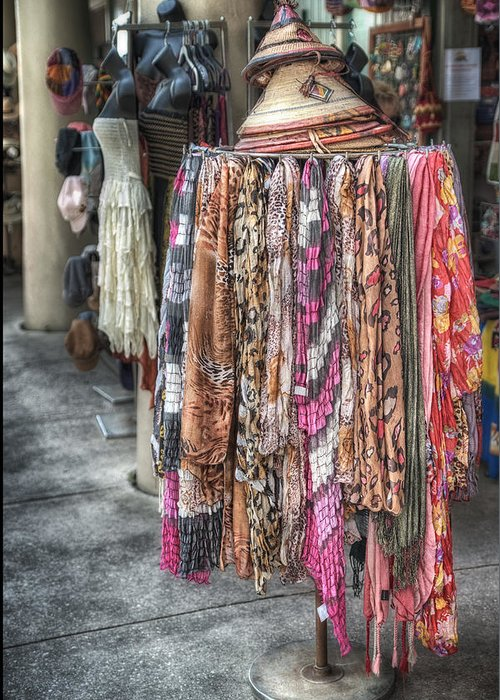 Scarf Greeting Card featuring the photograph Market Scarves by Brenda Bryant