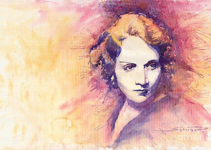Watercolour Painting Greeting Card featuring the painting Marlen Dietrich 1 by Yuriy Shevchuk