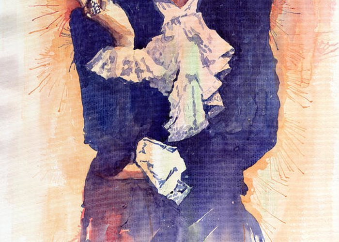 Watercolour Greeting Card featuring the painting Marlen Dietrich by Yuriy Shevchuk