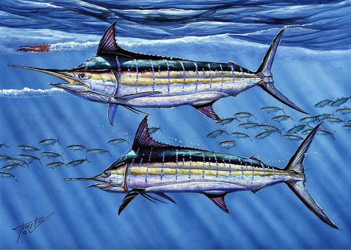 Blue Marlin Greeting Card featuring the painting Marlins Twins by Terry Fox