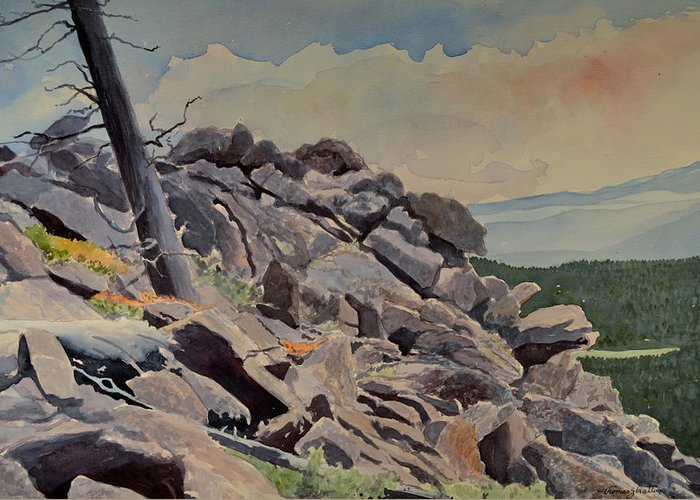 Landscape Greeting Card featuring the painting Marmot Hill by Thomas Stratton