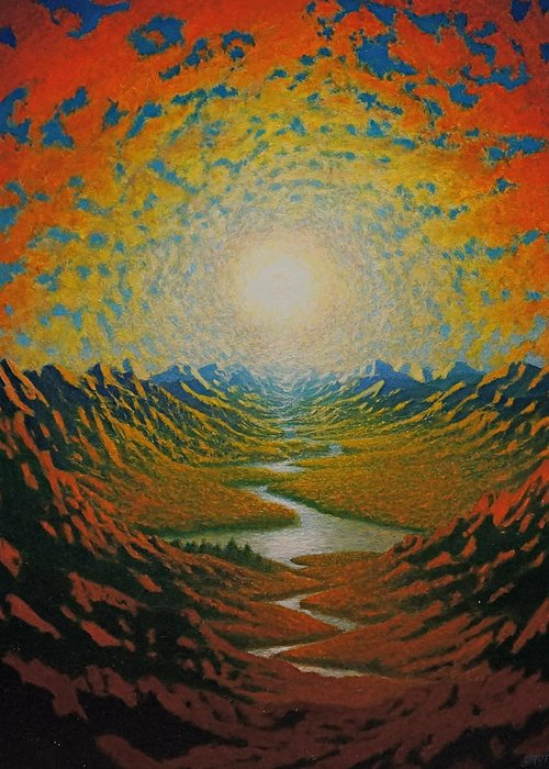 Sun Greeting Card featuring the painting Mars by Karma Moffett